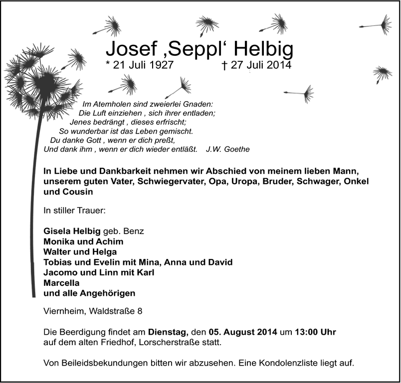 Josef Helbig Todesanzeigen Mannheimer Morgen