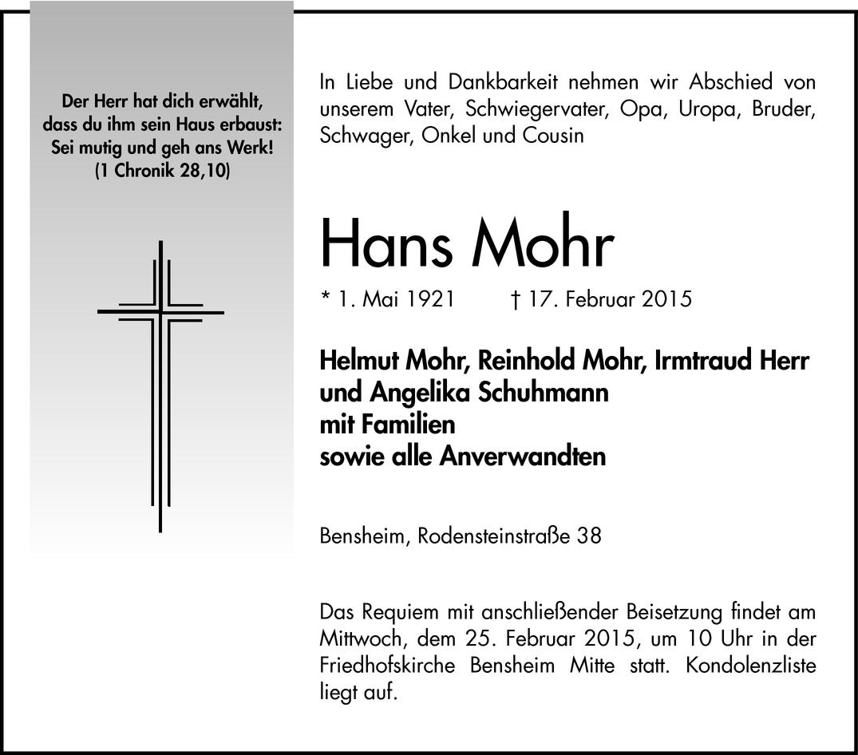 9c440df7d442d2 Hans Mohr - Todesanzeigen - Bergsträßer Anzeiger - Trauerportal Archiv - Mannheimer  Morgen