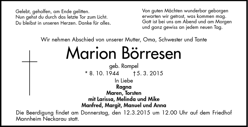 Marion Börresen Todesanzeigen Mannheimer Morgen