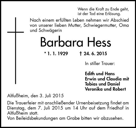 Barbara Hess Todesanzeigen Schwetzinger Zeitung Trauerportal Archiv Mannheimer Morgen