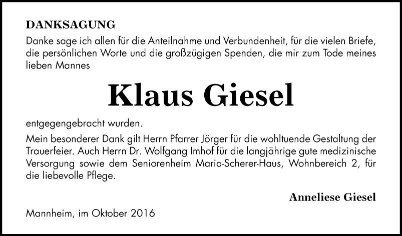Klaus Giesel Danksagungen Mannheimer Morgen Trauerportal