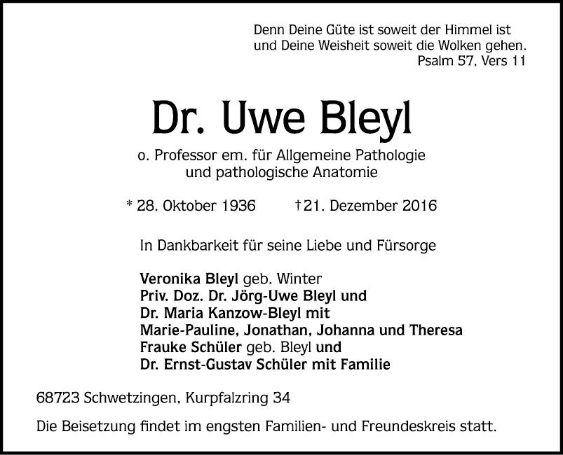 Dr. Uwe Bleyl - Todesanzeigen - Mannheimer Morgen - Trauerportal ...