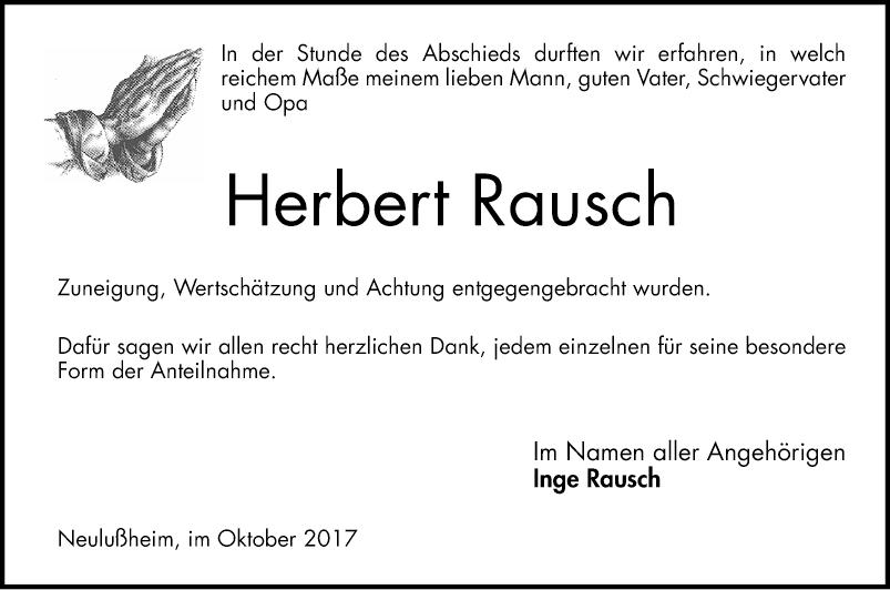 Bekannt Herbert Rausch - Danksagungen - Schwetzinger Zeitung SS72