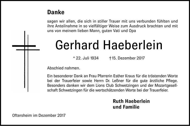 Haeberlein Danksagungen Schwetzinger Zeitung
