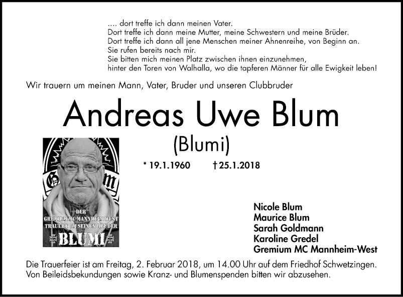 Blum - Todesanzeigen - Mannheimer Morgen - Trauerportal
